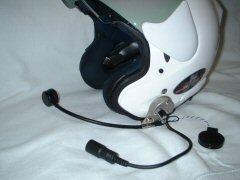 ジェットヘルメットにヘッドセット